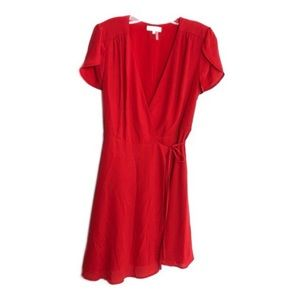 1. State Havana Red Split Sleeve Wrap Dress M NWT